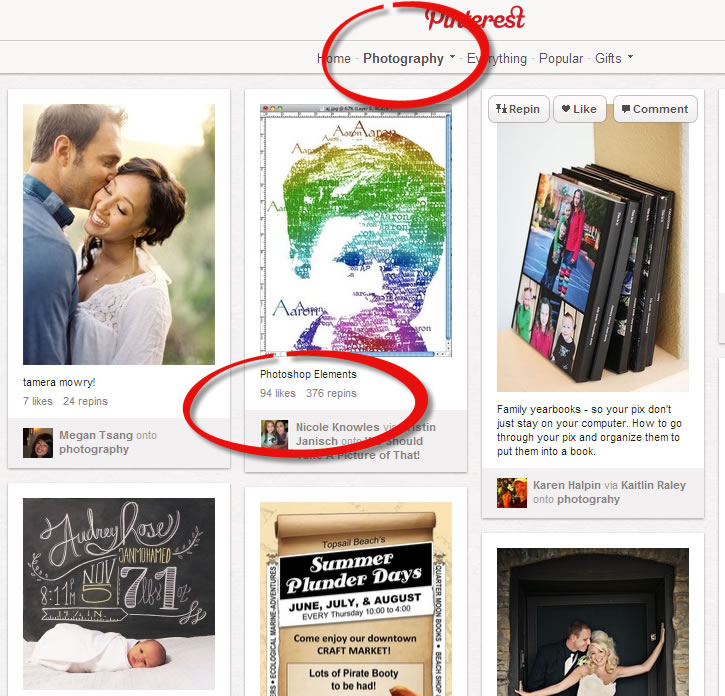 Pinterest Pin and Repin and Likes