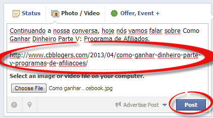 facebook add url and post status