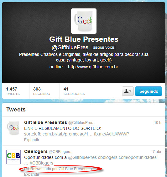 gift blue retweetado