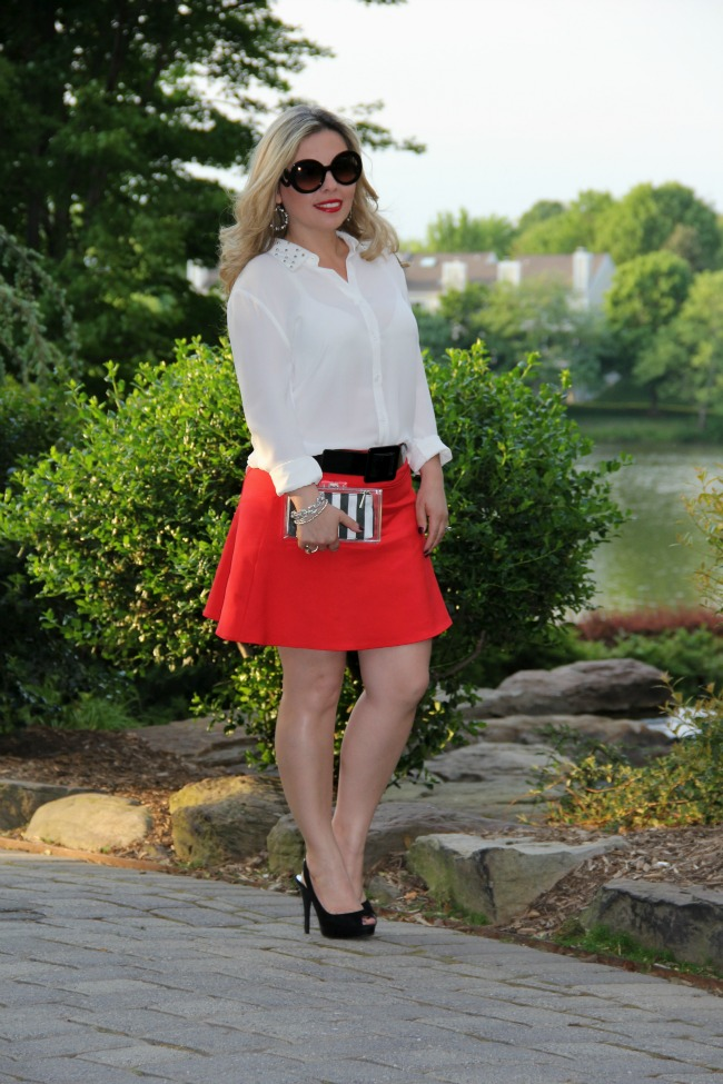 red skirt and white shirt