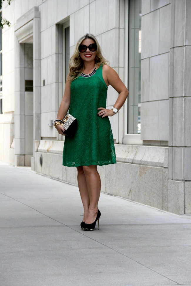 anthropologie green lace dress