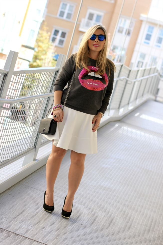 White Skirt and Sweater Forever 21