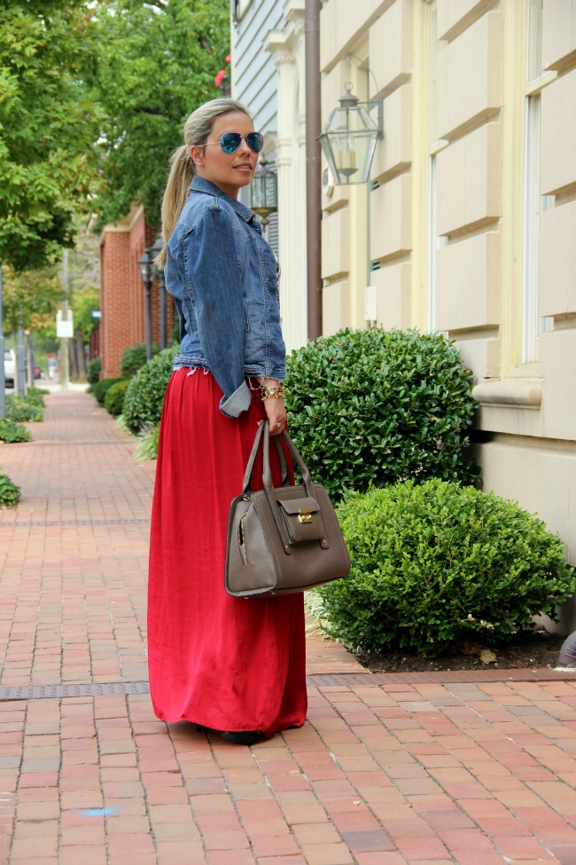 Red skirt and jeans jacket