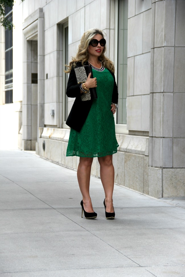 green lace dress and nordstrom blazer