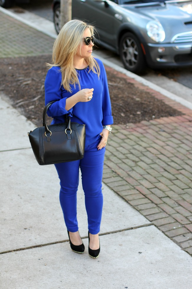 Blue blouse Zara and Forever 21 pants