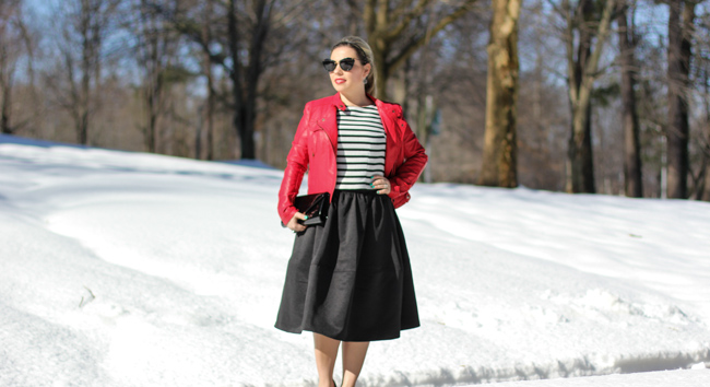 Mid Skirt and red Laether Jacket-2