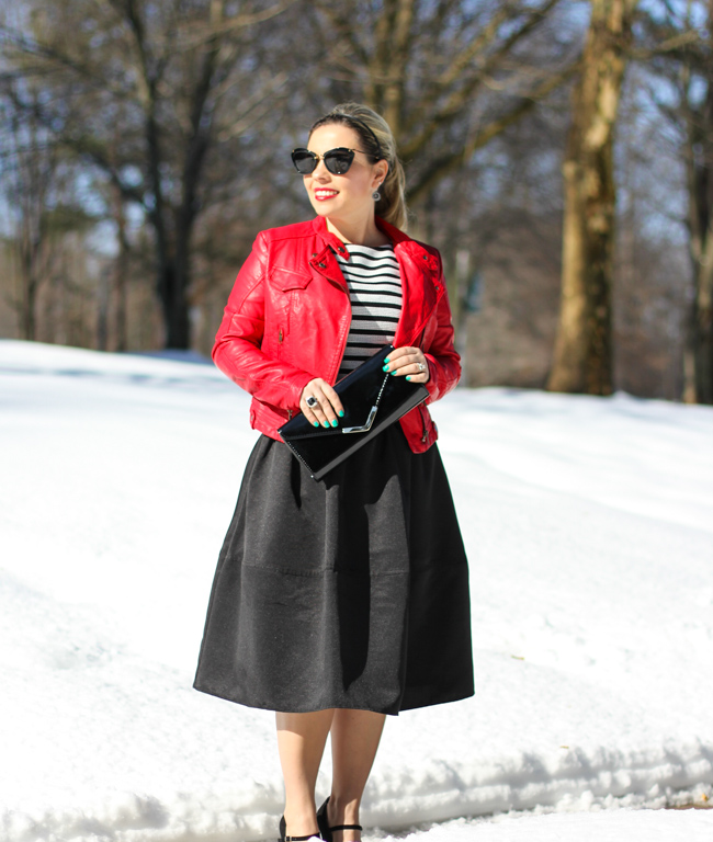 Mid Skirt and red Laether Jacket-20