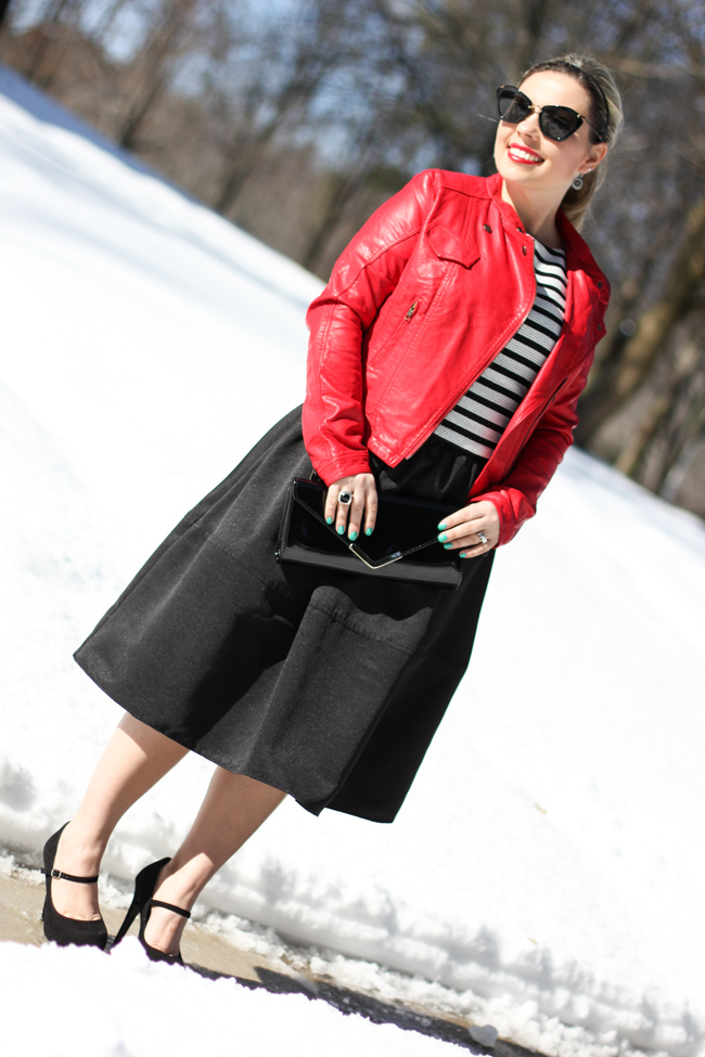 Mid Skirt and red Laether Jacket-21