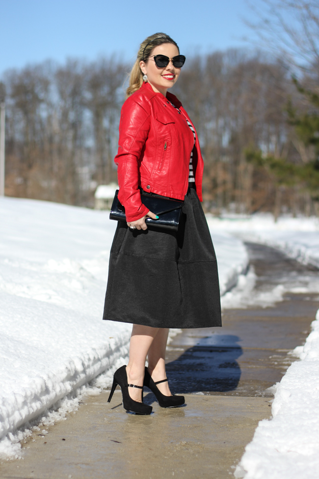 Mid Skirt and red Laether Jacket-23