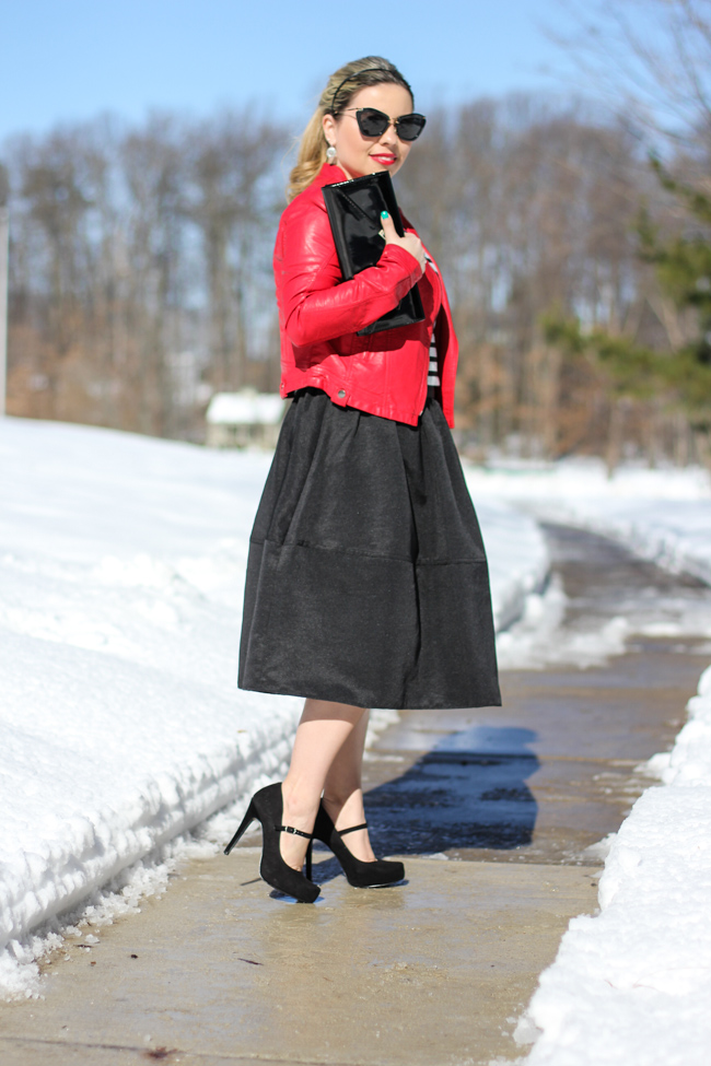 Mid Skirt and red Laether Jacket-24