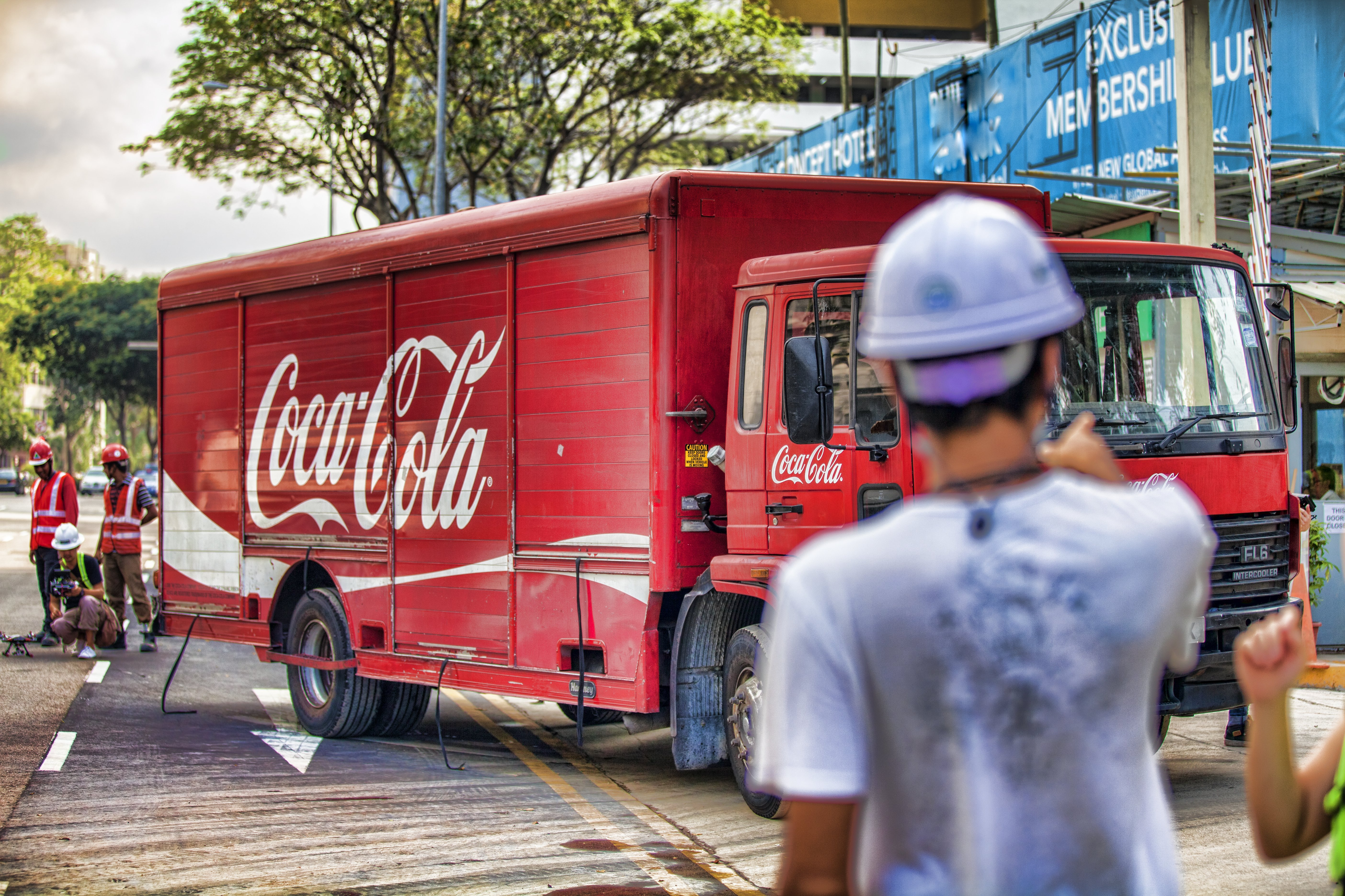 Coca-Cola Truck delivering the Coke cans