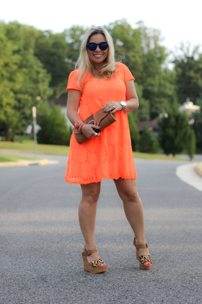 Orange Lace Dress Urban Outfitters-1